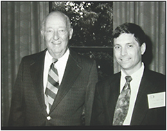 Figure 1. Myself as a Duke University resident, during the first years of my research, with Joe Wadsworth, MD (left), the first chair of ophthalmology at Duke University and part of the group that defined Lefler Wadsworth Sidbury syndrome, later called North Carolina macular dystrophy.