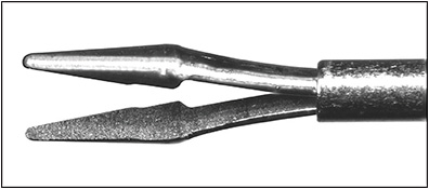 Figure 3. Grieshabher Advanced DSP Tip MaxGrip Forceps microtextured grasping forceps (Alcon).