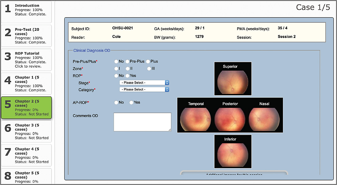 Figure 1.  Web-based retinopathy of prematurity learning interface.